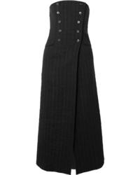 Falda midi de rayas verticales negra