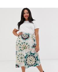 Falda midi de satén efecto teñido anudado en multicolor de Neon Rose Plus