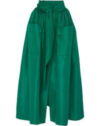 Falda midi de satén plisada verde oscuro