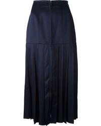 Falda midi de seda plisada azul marino de Fendi