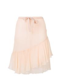 Falda midi de seda rosada de See by Chloe