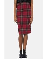 Falda midi de tartán roja