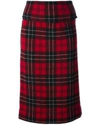 Falda midi de tartán roja de Comme des Garcons