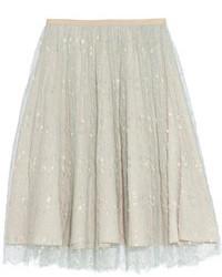 Falda midi de tul blanca