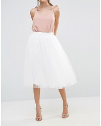 43399b749 Falda midi de tul blanca de Little Mistress, €59 | Asos | Lookastic ...