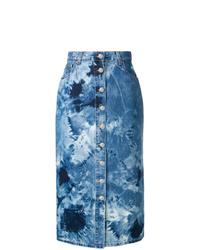 Falda midi efecto teñido anudado azul