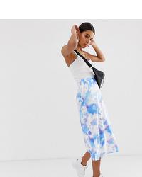 Falda midi efecto teñido anudado celeste de Reclaimed Vintage