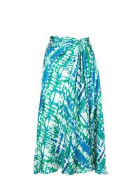 Falda midi efecto teñido anudado en verde azulado de Prabal Gurung