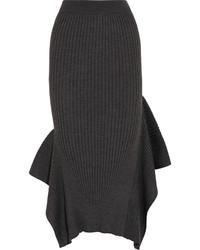 Falda midi en gris oscuro de Stella McCartney