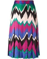 Falda midi en zig zag en multicolor de Salvatore Ferragamo