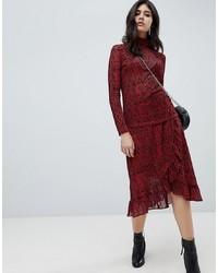 Falda midi estampada burdeos de Soaked in Luxury