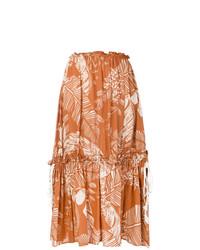 Falda midi estampada naranja de See by Chloe