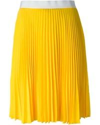 Falda midi plisada amarilla