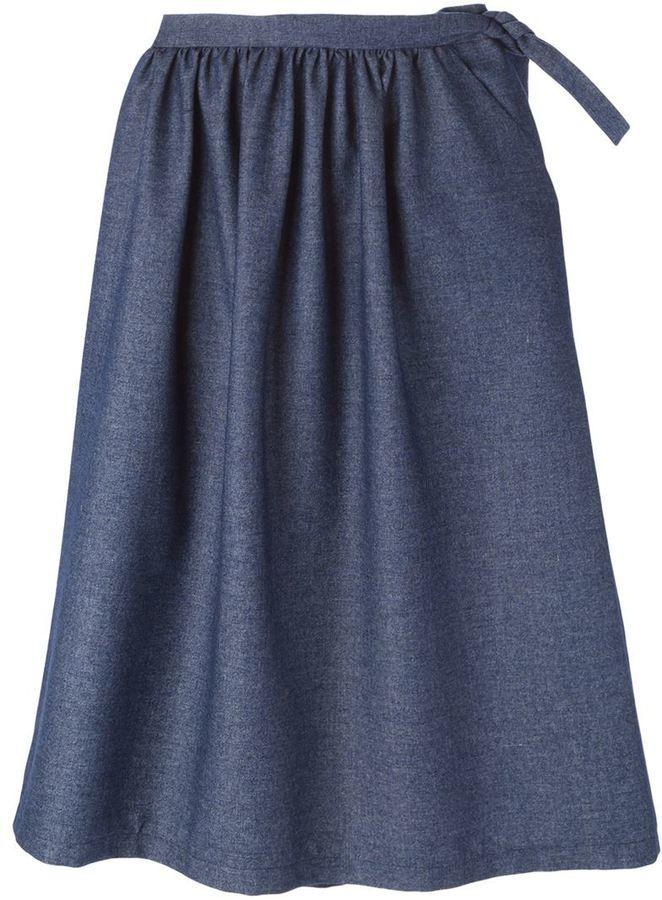 66c43dbd9 Falda midi plisada azul marino de Societe Anonyme