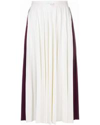Falda midi plisada blanca de Valentino