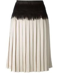 Falda midi plisada en beige de Salvatore Ferragamo
