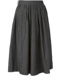 Falda midi plisada en gris oscuro de Comme Des Garcons Comme Des Garcons
