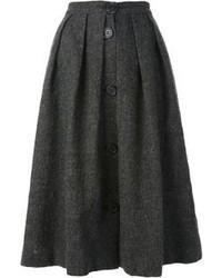 Falda midi plisada en gris oscuro de Jean Paul Gaultier
