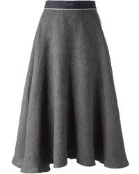 Falda midi plisada en gris oscuro de Societe Anonyme
