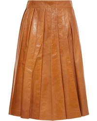 Falda midi plisada en tabaco