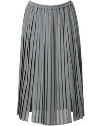 Falda midi plisada gris