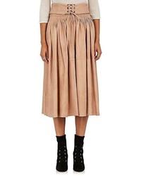 Falda midi plisada marrón claro