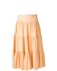 Falda midi plisada naranja de Chloé