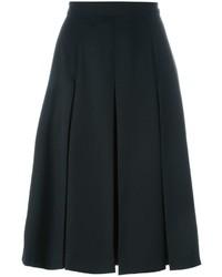 Falda midi plisada negra de Alexander McQueen