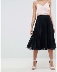 Falda midi plisada negra de Asos