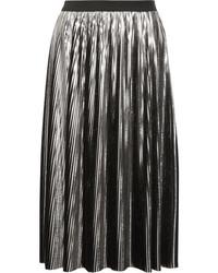 Falda midi plisada plateada de Jil Sander