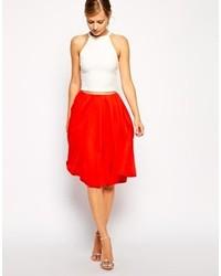 Falda midi plisada roja