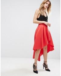 Falda Midi Plisada Roja de Asos
