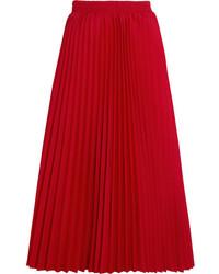 Falda midi plisada roja de Balenciaga