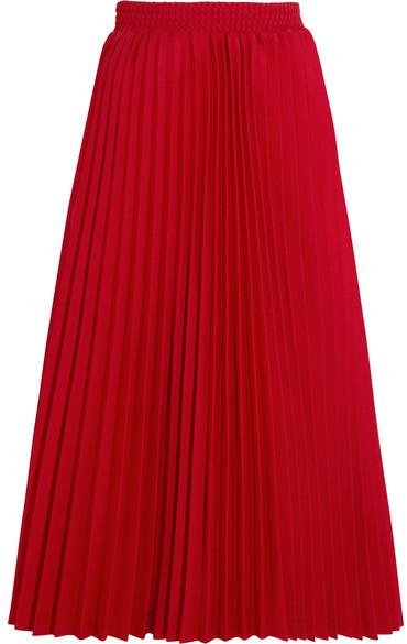 768563e16f ... rojas Falda midi plisada roja de Balenciaga