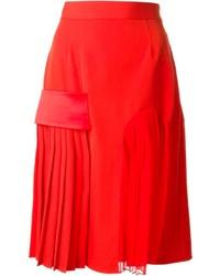 Falda midi plisada roja de Givenchy
