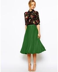 Falda midi plisada verde de Asos