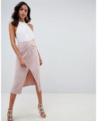 Falda midi rosada de ASOS DESIGN