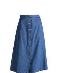 Falda midi vaquera azul