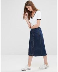 Falda midi vaquera azul de Only