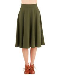 Falda midi verde oliva original 1473117