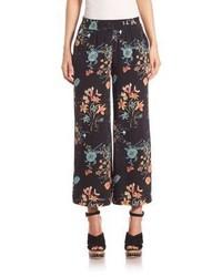Falda pantalón con print de flores negra