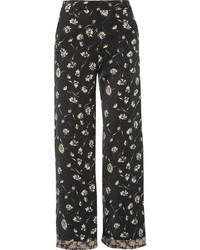 Falda pantalón con print de flores negra de Etro