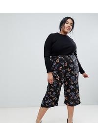 Falda pantalón con print de flores negra de Influence Plus