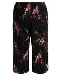 Falda Pantalón con print de flores Negra de New Look