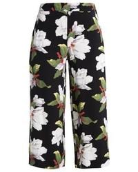 Falda Pantalón con print de flores Negra de Warehouse