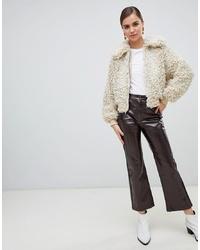 Falda pantalón de cuero en marrón oscuro de Monki
