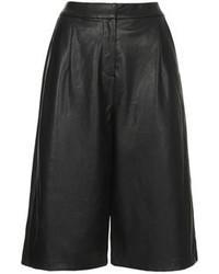 Falda pantalón de cuero negra