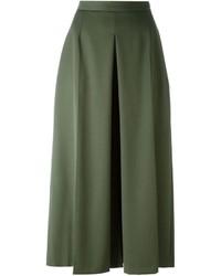 Falda pantalón de lana verde oliva de Alexander McQueen
