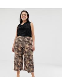 Falda pantalón de leopardo en marrón oscuro de Missguided Plus