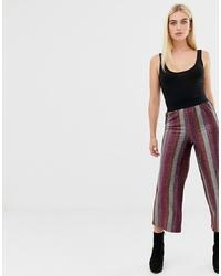 Falda pantalón de rayas verticales burdeos de ASOS DESIGN